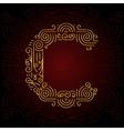 Gold Mono Line style Font Letter C vector image