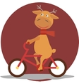Greeting card with deer in a scarf on bycicle vector image