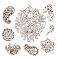Hand drawn indian ornaments collection vector image