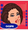Pop art surprised pretty woman face with open vector image