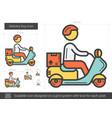 delivery boy line icon vector image