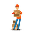 delivery man standing and holding cardbox courier vector image