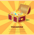 glossy treasure chest banner vector image
