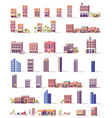 low poly buildings set vector image