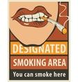 signboard designated smoking area vector image