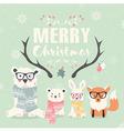 Merry Christmas card bears rabbit fox antlers vector image