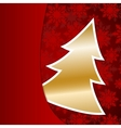 Golden Christmas tree on red snowflake background vector image