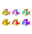 colorful cartoon fishes set vector image