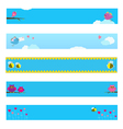Banner set with bird bee owl and flowers vector image