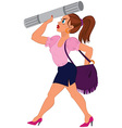 Cartoon woman in pink top and blue skirt with vector image vector image