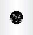 black cat face circle icon symbol vector image