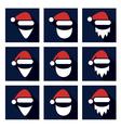 christmas flat icon set of santa vector image