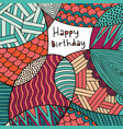 happy birthday card hand drawing colorful vector image