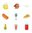 Junk food icons set cartoon style vector image