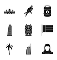 Tourism in UAE icons set simple style vector image