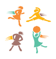 Active girls fitness sports set 4 vector image