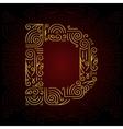 Gold Mono Line style Font Letter D vector image