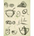 set of vintage hand drawn tea icons vector image