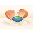 Save the world theme with cracking egg vector image