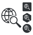 Global search icon set monochrome vector image