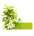 Green palms and tropical flowers vector image
