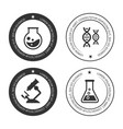 science labels collection with silhouette icons vector image