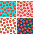 set of seamless pattern with strawberry vector image