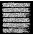 Silver glitter brush strokes set isolated at black vector image