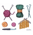 Tools and materials for knitting sketch vector image