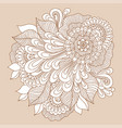 Doodle art floral composition henna tattoo vector image