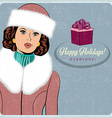 elegant young and happy woman in winter retro vector image