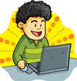 boy playing laptop vector image