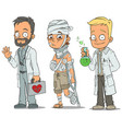 cartoon doctor patient scientist characters set vector image