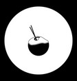 coconut milk drink simple black icon eps10 vector image