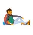 Happy bearded traveler with backpack on rest vector image