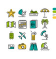 set summer vacation linear colored icons vector image