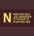 yellow neon light alphabet font vector image