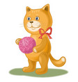 cartoon cat with a ball of wool yarn vector image vector image