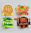 set of stickers for food vector image