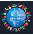 Diversity human hand Europe and Africa map vector image