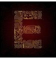 Gold Mono Line style Font Letter E vector image vector image