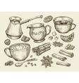 Food tea coffee Hand drawn cup cinnamon anise vector image
