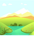 calm summer landscape with green fields and high vector image