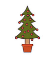 christmas tree decorative garlands in potplant vector image