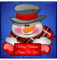 Cute snowman in hat closeup with card for text vector image