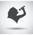 Karaoke womans silhouette icon vector image