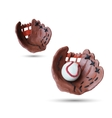 Set of Baseball handmade glove and ball vector image
