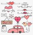 set of doodle valentine day labels and typography vector image