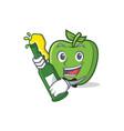 with beer green apple character cartoon vector image