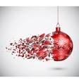 Broken red Christmas ball vector image